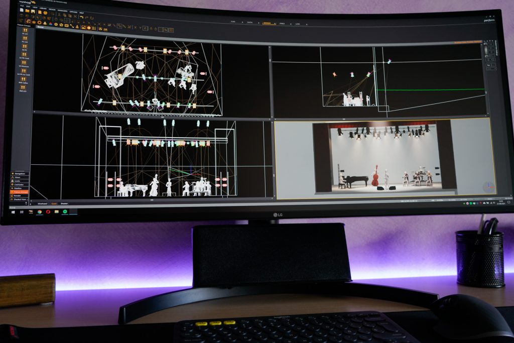 imagen de un escritorio con monitor ultrawide